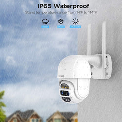 TOGUARD AP30 2MP Dual Lens,  WiFi Home Surveillance with Motion Detection, Weatherproof , PTZ Outdoor Security Camera