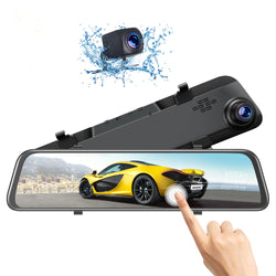"Toguard CE70 12"" 2.5K Mirror Dual Lens Dash Camera Touch Screen Front for Cars Backup Camera"