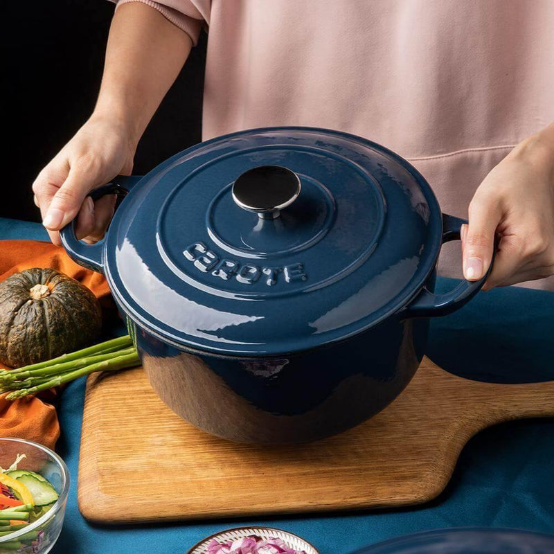 Enameled cast iron Dutch oven blue chef use