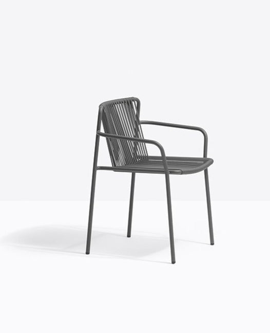 GREY OUTDOOR CHAIR WITH ARMS