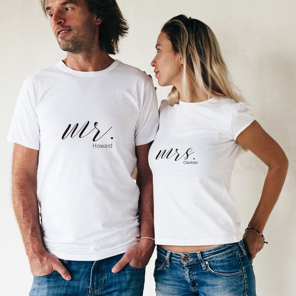 MR & MRS 純棉180克情侶T恤(一件價錢)|MR & MRS 180G Cotton Couple Tee(1 Piece Price) | 可訂製加名