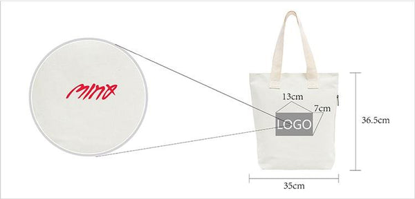 High end side zipper canvas bag