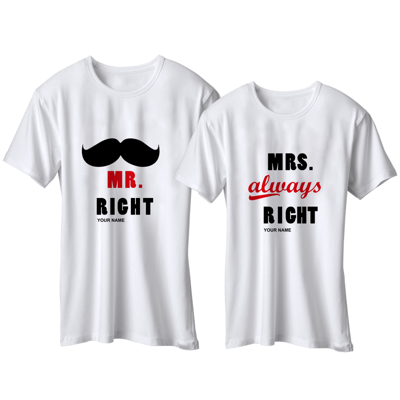 Mr & Mrs. Right Couples Customize T-Shirt | 情侶定制T恤