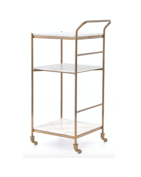 Marble top bar cart with gold frame