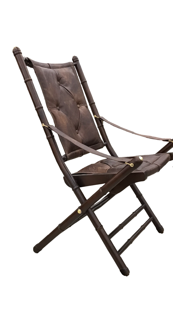 Campaign leather folding chair
