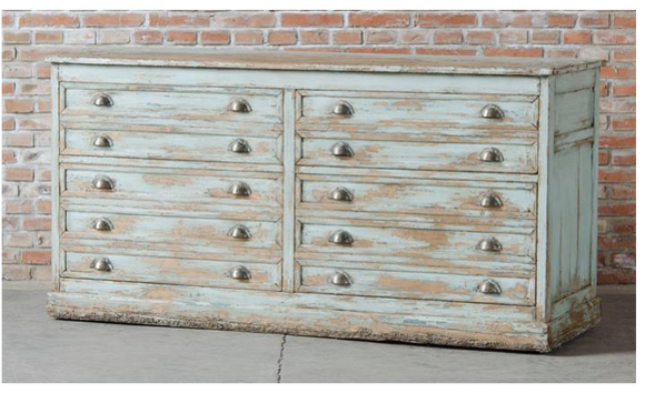 Perche Buffet Antique Provence Blue.