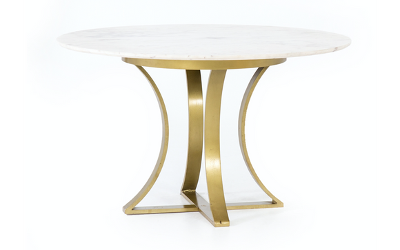 Table Round,  Marble-Top with Gold Iron Base 48