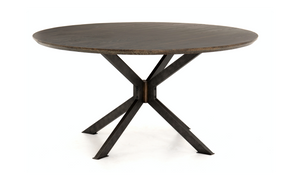 Round Table of English Brown Oak or Round Table with Brass Top.