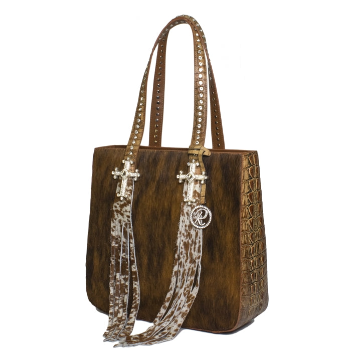 1502- Brindle & Brown croco W/ Tassels & Cross