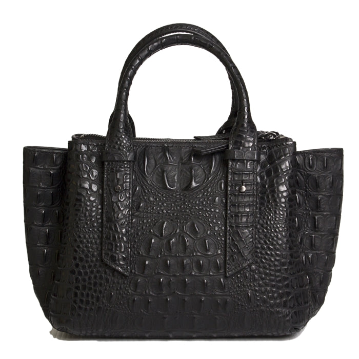15302-1BH-Black Crocodile & Black Hair Crystal Cross