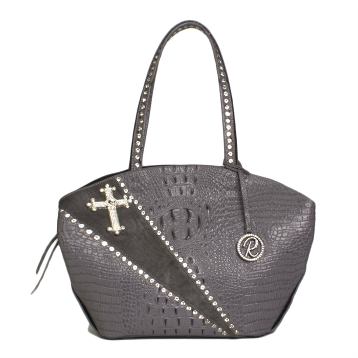 16286-1G-GRAY W/ Crystals & Cross Concho