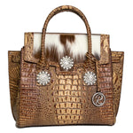 16386-1BH-Brown crocodile Leather W/ Crystals Concho