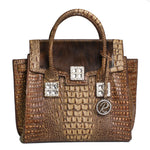 16386-1BH-Brown crocodile Leather W/ Crystals