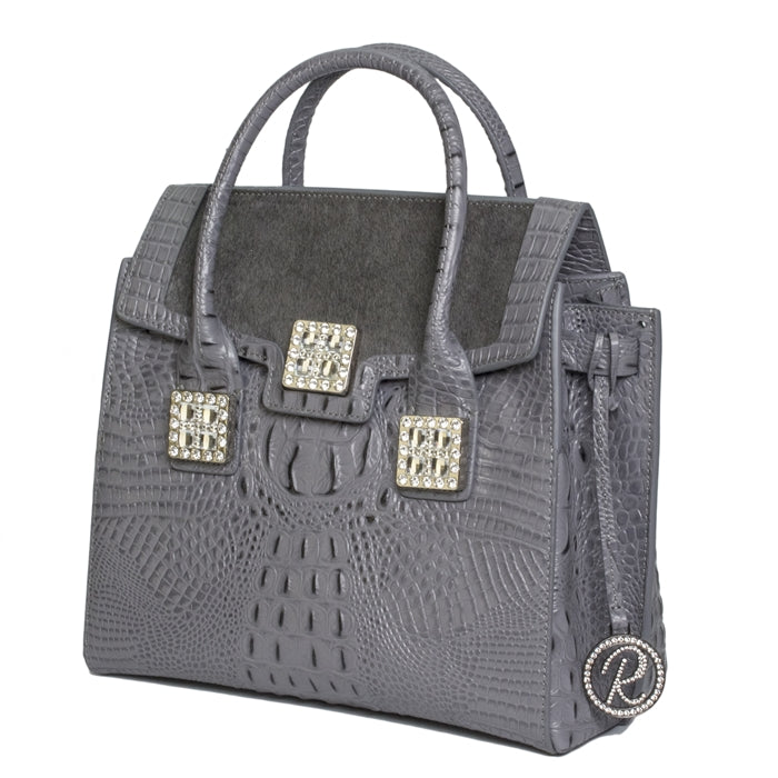 16386-1GH- Gray Leather W/ Crystals
