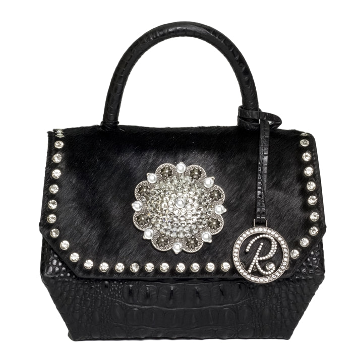 17071-B-CR-Black W/ Crystals & Large Concho