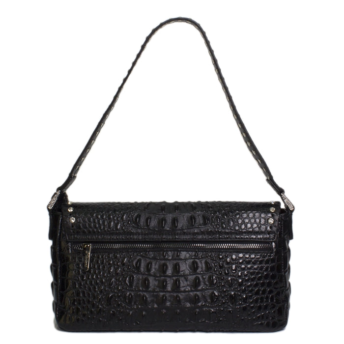 5006- Shoulder Bag With Flap W/Crystals