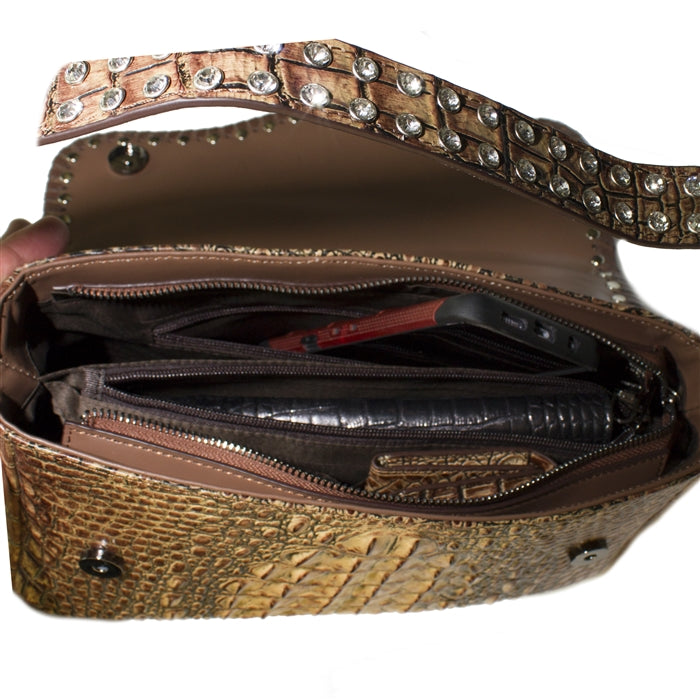 5006- Shoulder Bag W/Flap W/Crystals & Concho