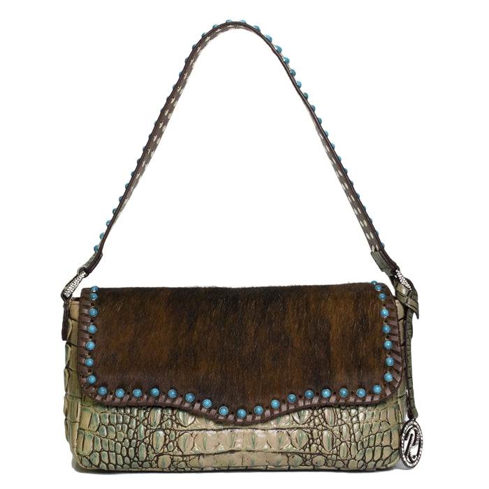 5006- Shoulder Bag W/Flap W/TQ Stones