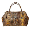 Raviani Duffel/Overnight Doctor Bag In Brandy Embossed Crocodile Leather W/Cross & Crystals