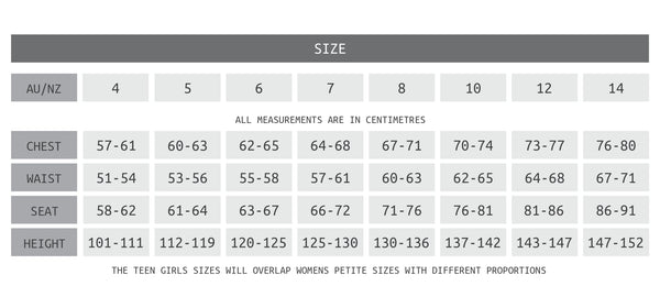 Girls size chart for fitting to ALT Active Kids