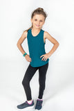 Girls Bamboo Singlet in Petrol