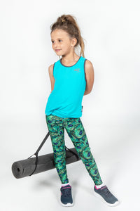 Girls Peacock Eco Print Leggings