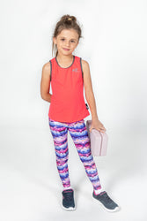 Girls Cloudy Skies Eco Print Leggings