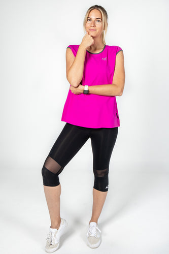 Cap sleeve tee in Hot Pink