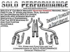 Solo Performance Cat-Back Mach XV Exhaust System 5.0L Ford Mustang GT ( 2018-19)