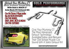 Solo Performance Axle Back Exhaust System 5.0L Ford Mustang GT ( 2018-19)