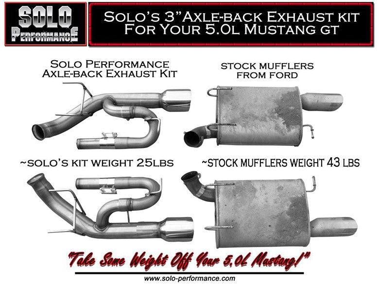 Solo Performance Axle Back Exhaust System 5.0L Ford Mustang GT ( 2011-2014 )