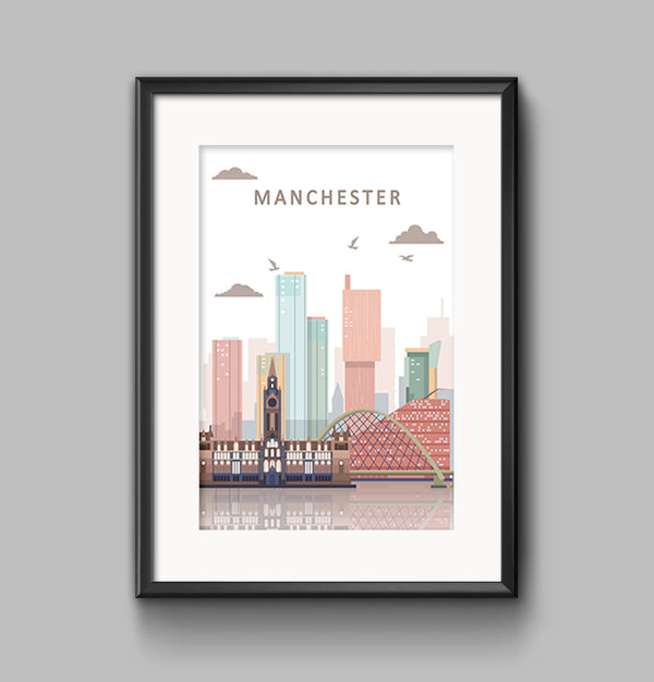 Pastel Colour Manchester Skyline Landscape Photo Print