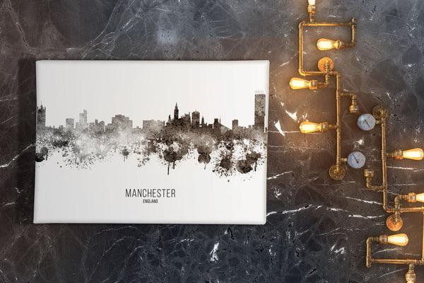 Black Watercolour Manchester Skyline Landscape Canvas Print