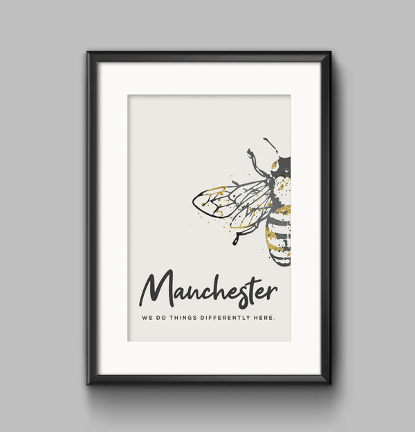 Grey Watercolour Manchester Bee Print Photo #2 With 'We Do Things Differently'