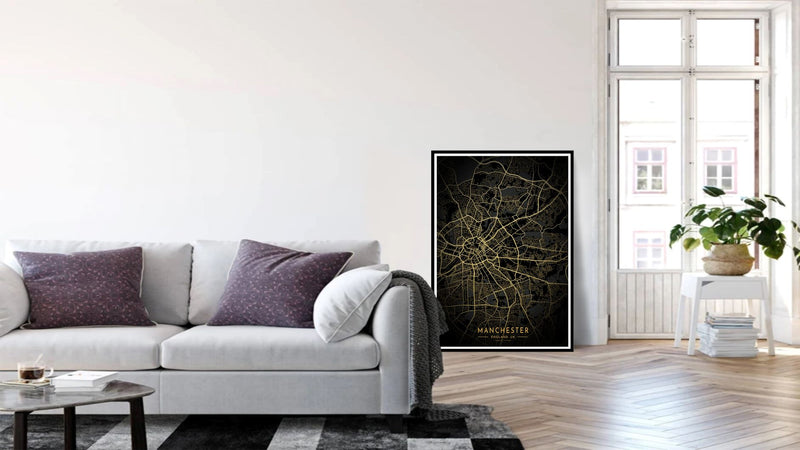 Gold Manchester Road Map Print Photo