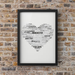 Manchester Words Heart Print Photo