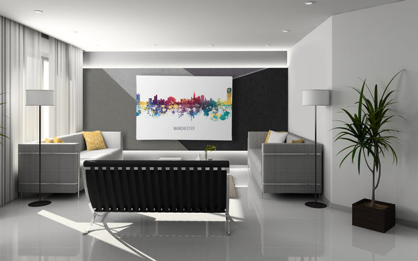 Multicolour Manchester Skyline Canvas Print