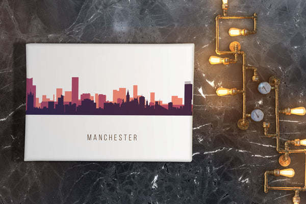 Multicolour #2 Watercolour Manchester Skyline Landscape Canvas Print