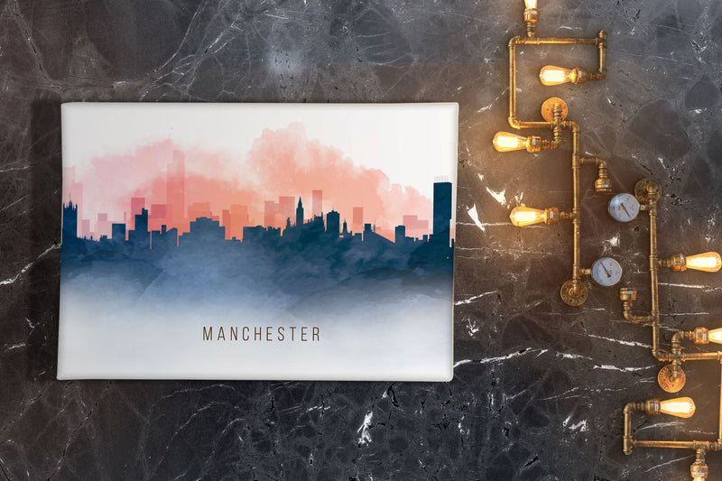 Red and Blue Watercolour Manchester Skyline Landscape Canvas Print