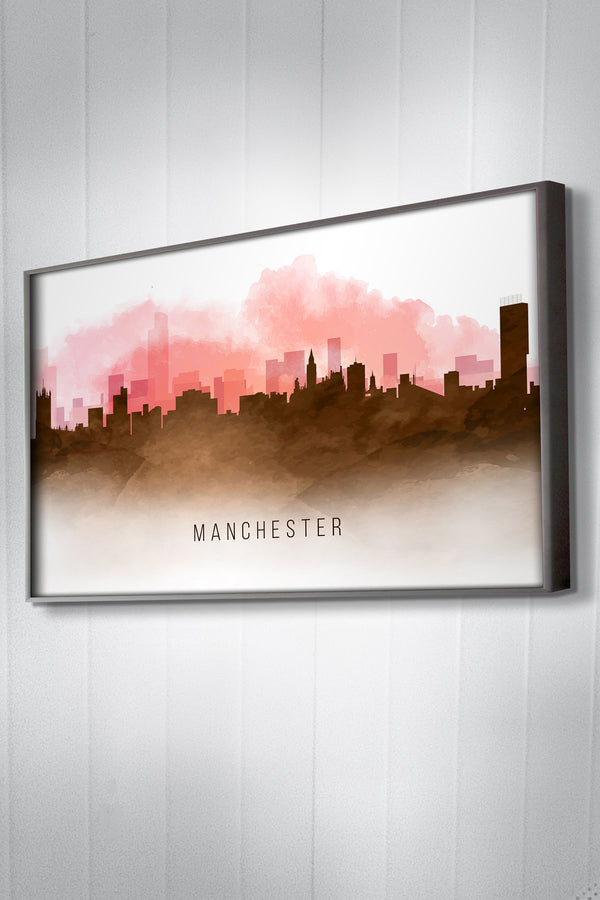 Red Watercolour Manchester Skyline Landscape Photo Print