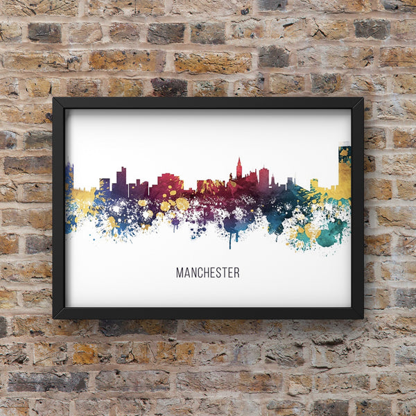 Multicolour Watercolour Manchester Skyline Landscape Photo Print