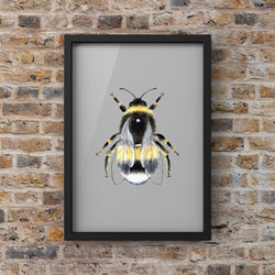Grey Background Manchester Bee Print Photo Art