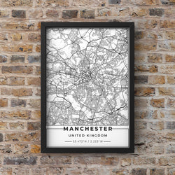White Manchester Road Map with Coordinates Print Photo