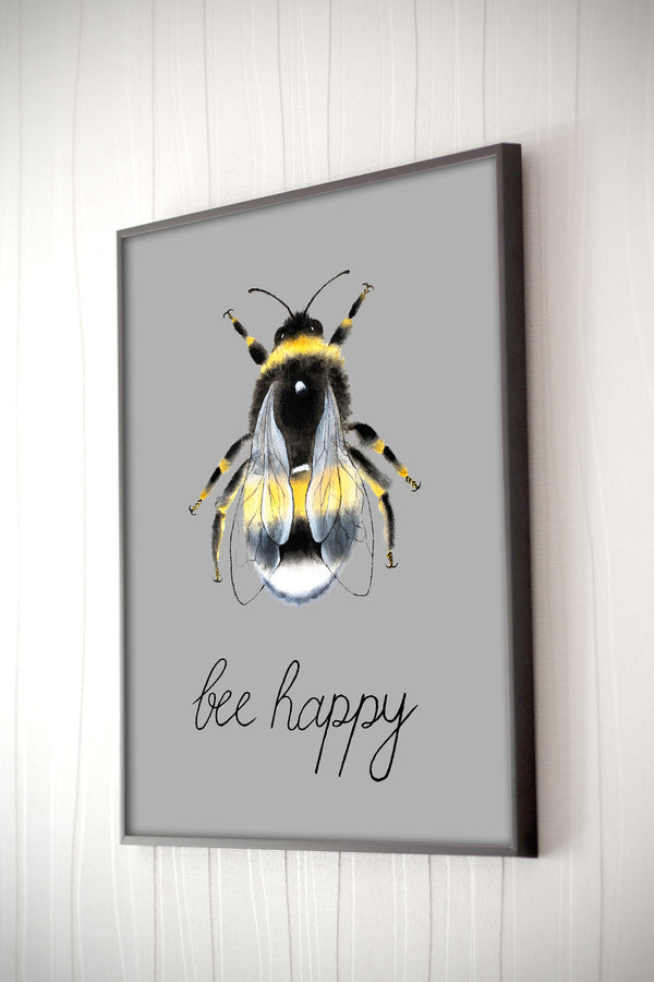 Grey Watercolour Manchester Bee Print Photo with 'Bee Happy'
