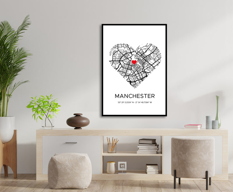 White Manchester Roadmap Print Photo with Love Heart map