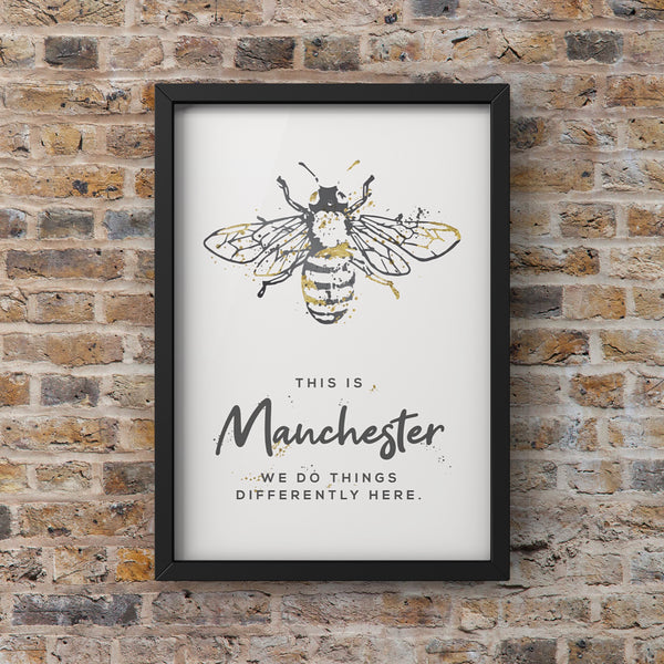 Grey Watercolour Manchester Bee Print Photo With 'We Do Things Differently'