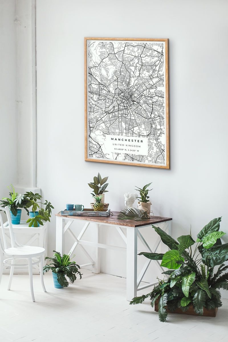 Black and White Manchester Road Map Print Photo