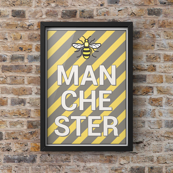 Manchester Retro Bee with Hacienda Colours Framed Photograph Print