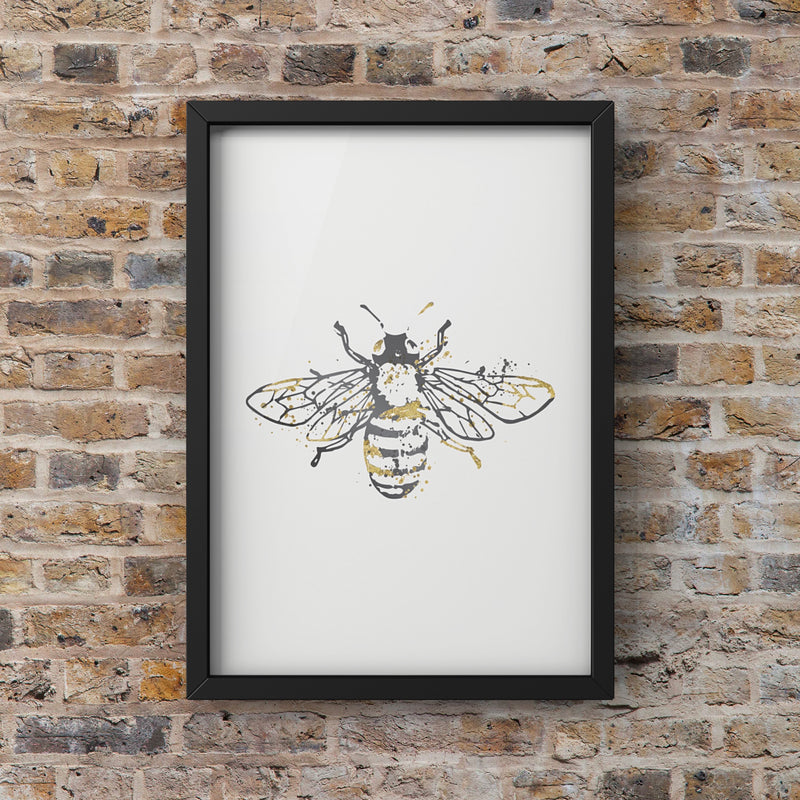 Grey Watercolour Manchester Bee Framed Photograph Print Photo Wall Art