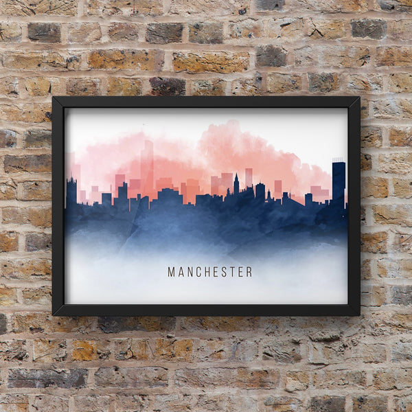 Red and Blue Watercolour Manchester Skyline Landscape Photo Print